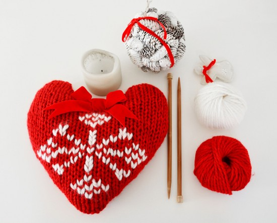 knit, heart, xmas